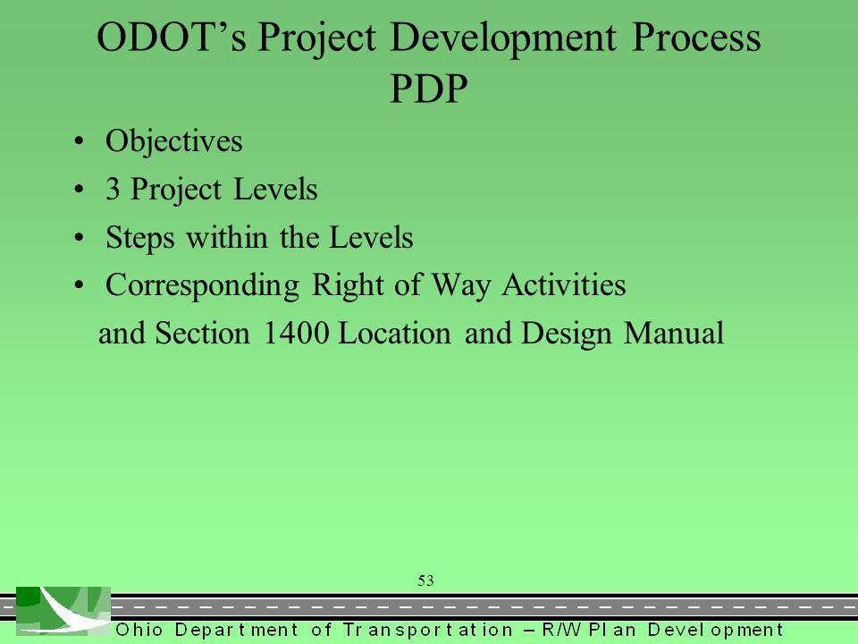ODOT's Project Development Process PDP