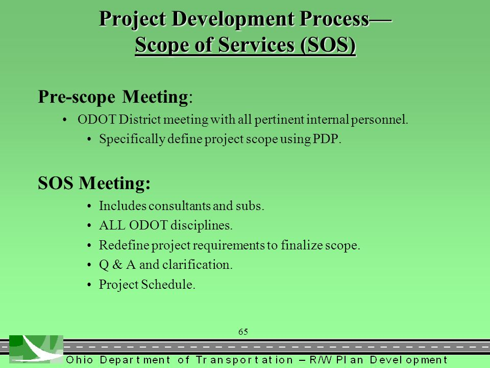 Project Development Process— Scope of Services (SOS)