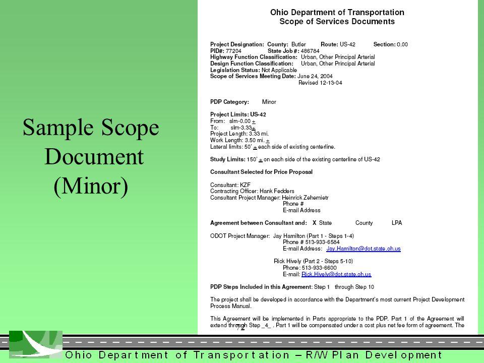 Sample Scope Document (Minor)