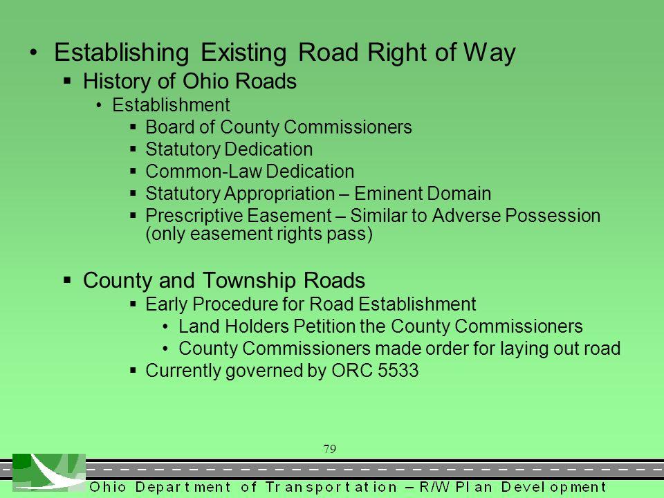 Establishing Existing Road Right of Way