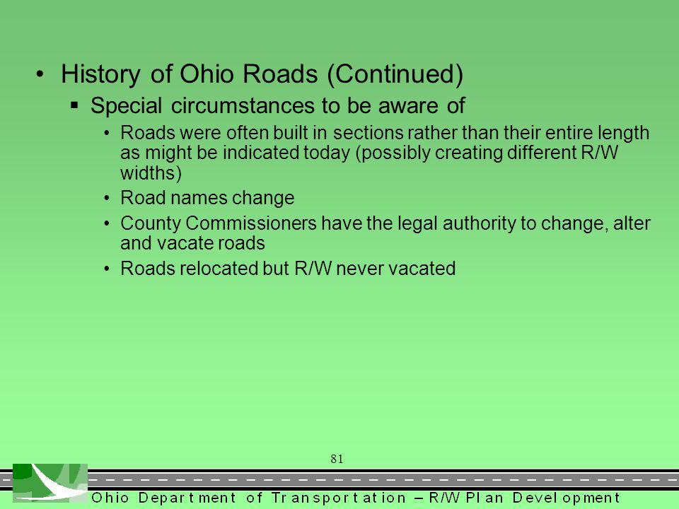 History of Ohio Roads (Continued)