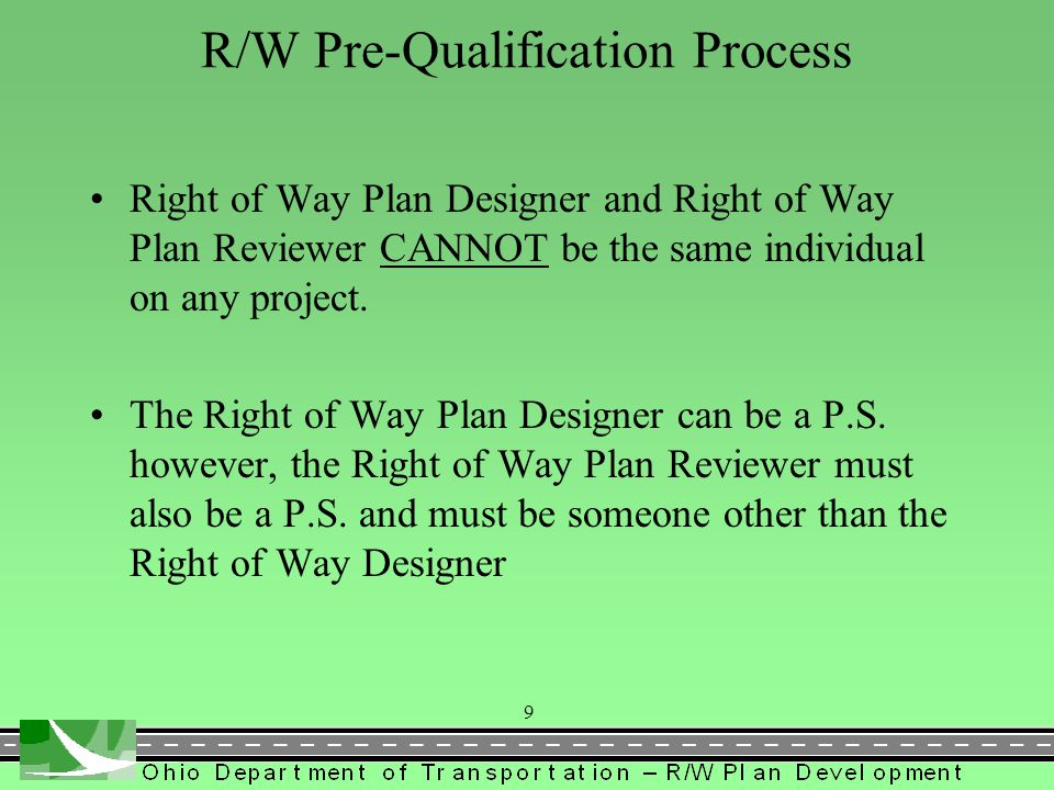 R/W Pre-Qualification Process