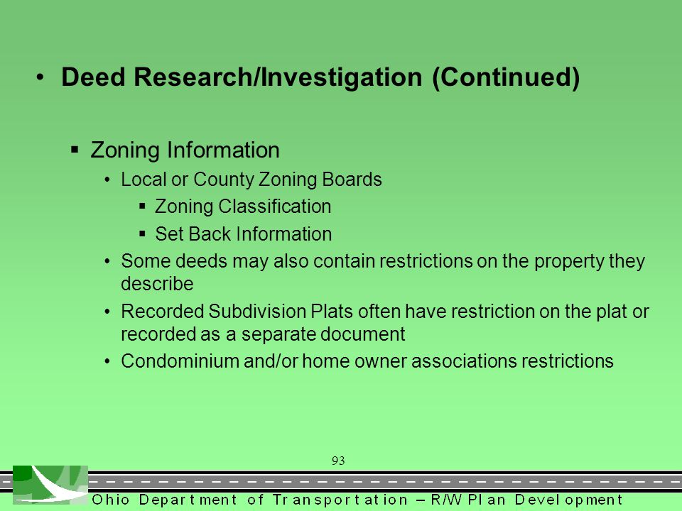 Deed Research/Investigation (Continued)