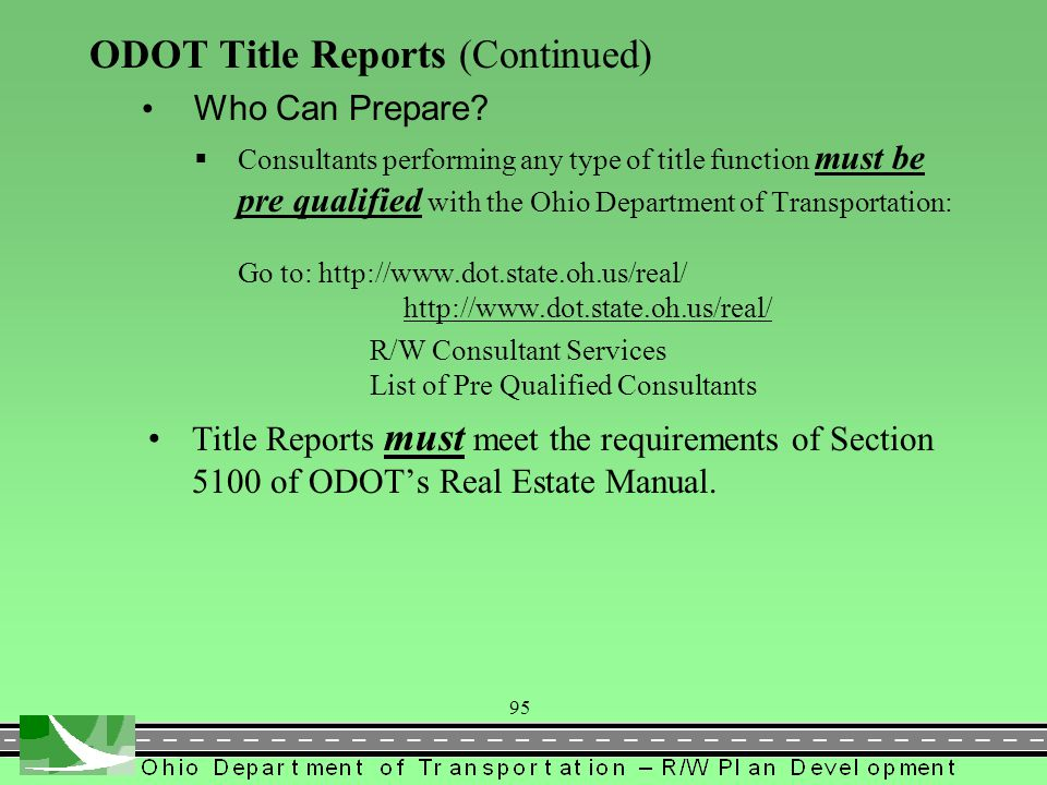 ODOT Title Reports (Continued)