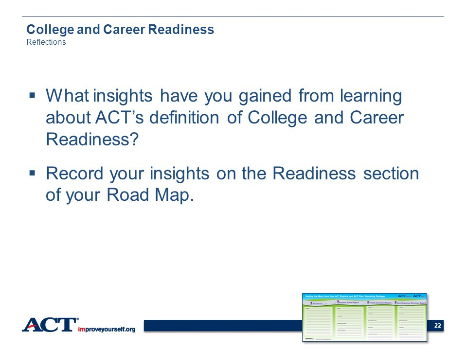 College and Career Readiness Reflections