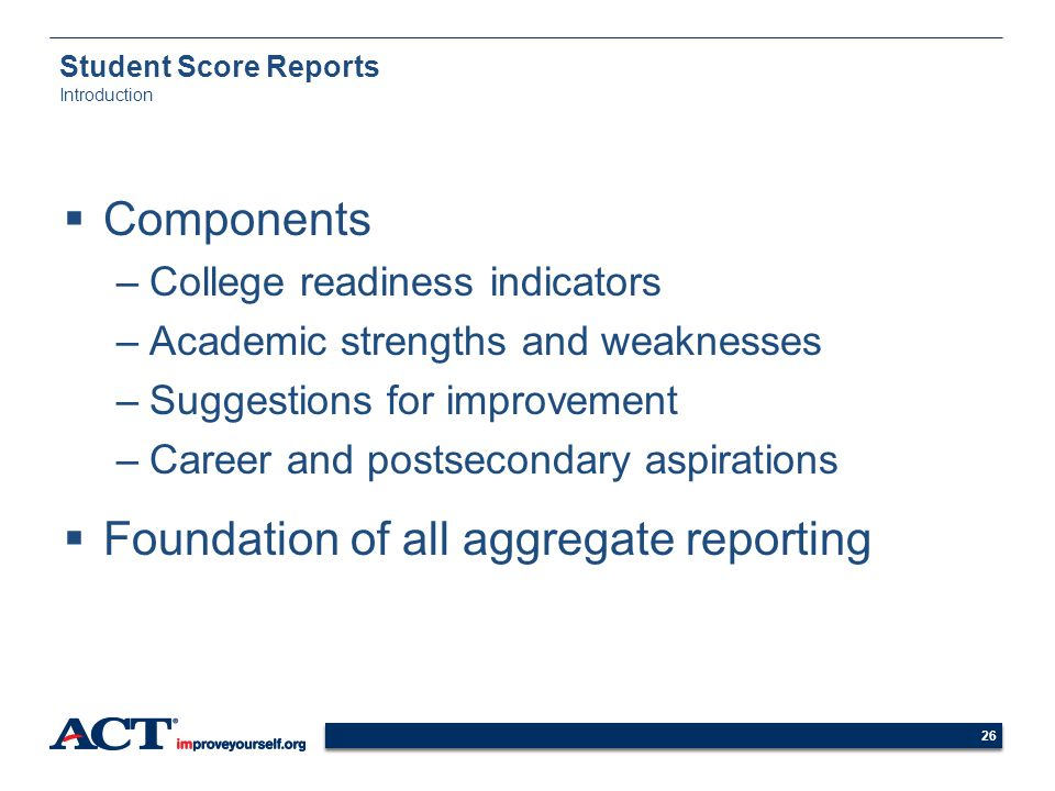 Student Score Reports Introduction