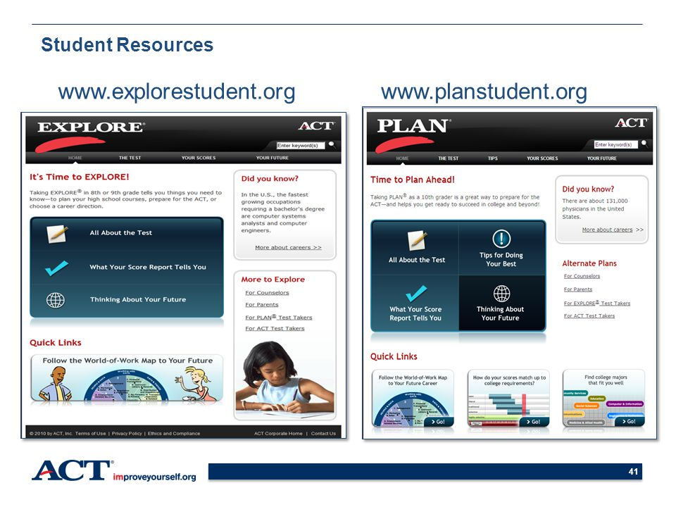 Student Resources www.explorestudent.org www.planstudent.org 41