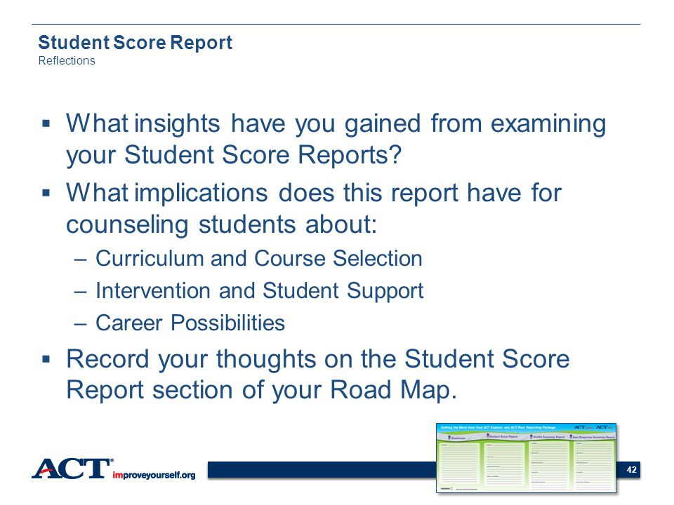 Student Score Report Reflections