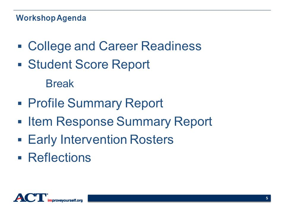 College and Career Readiness Student Score Report