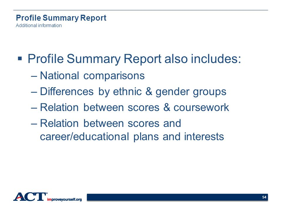 Profile Summary Report Additional information