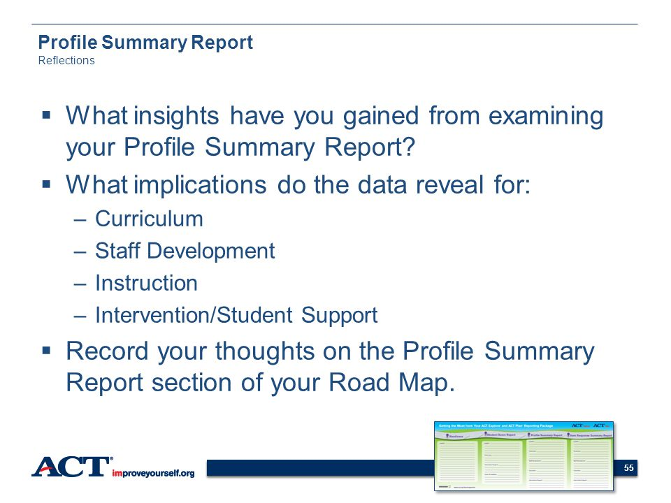 Profile Summary Report Reflections