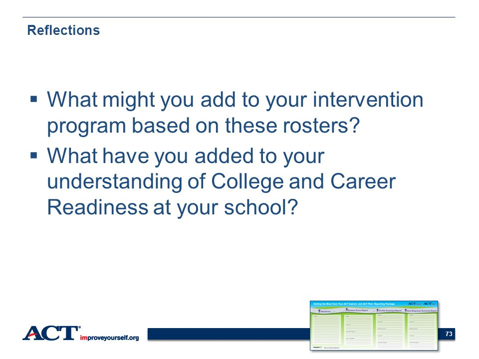 Reflections What might you add to your intervention program based on these rosters