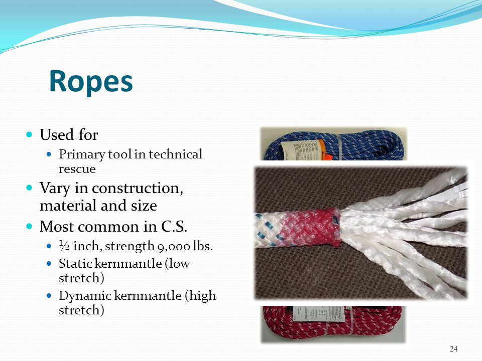 Ropes Used for Vary in construction, material and size
