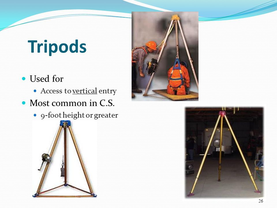 Tripods Used for Most common in C.S. Access to vertical entry