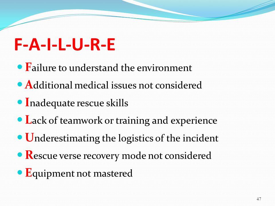 F-A-I-L-U-R-E Failure to understand the environment