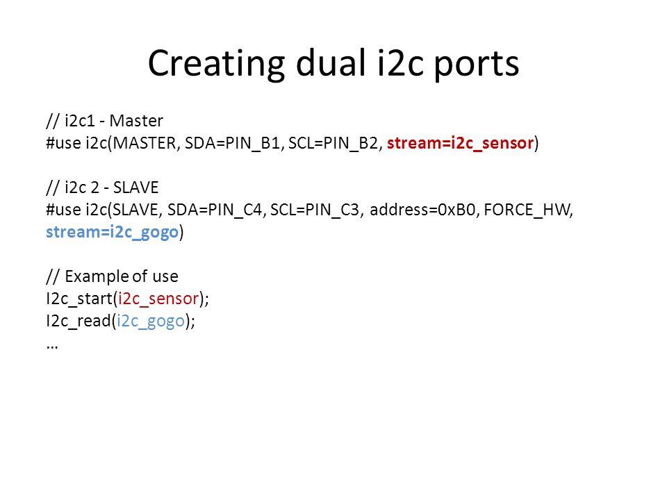 Creating dual i2c ports // i2c1 - Master