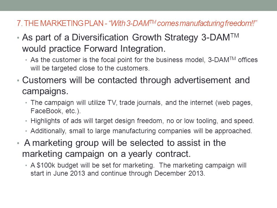 7. THE MARKETING PLAN - With 3-DAMTM comes manufacturing freedom!!