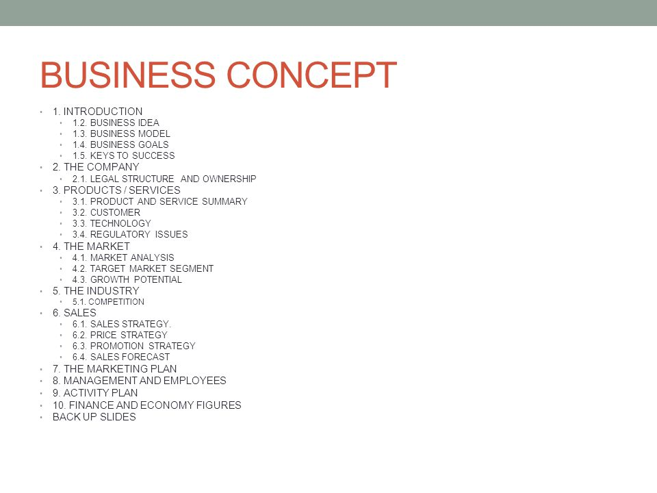 BUSINESS CONCEPT 1. INTRODUCTION 2. THE COMPANY 3. PRODUCTS / SERVICES