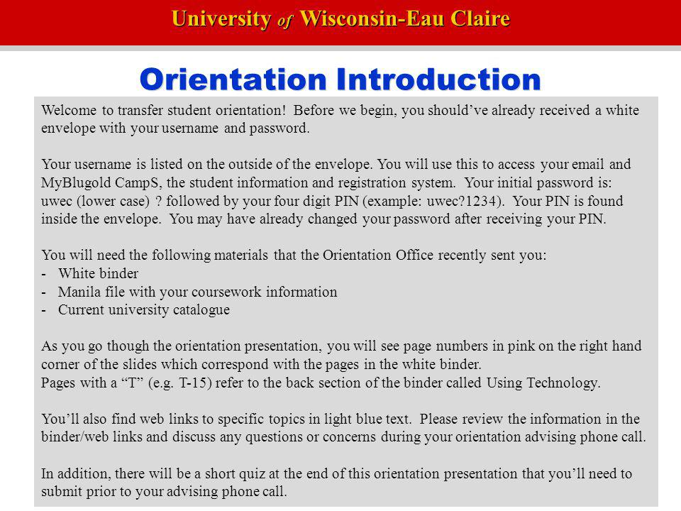 Orientation Introduction
