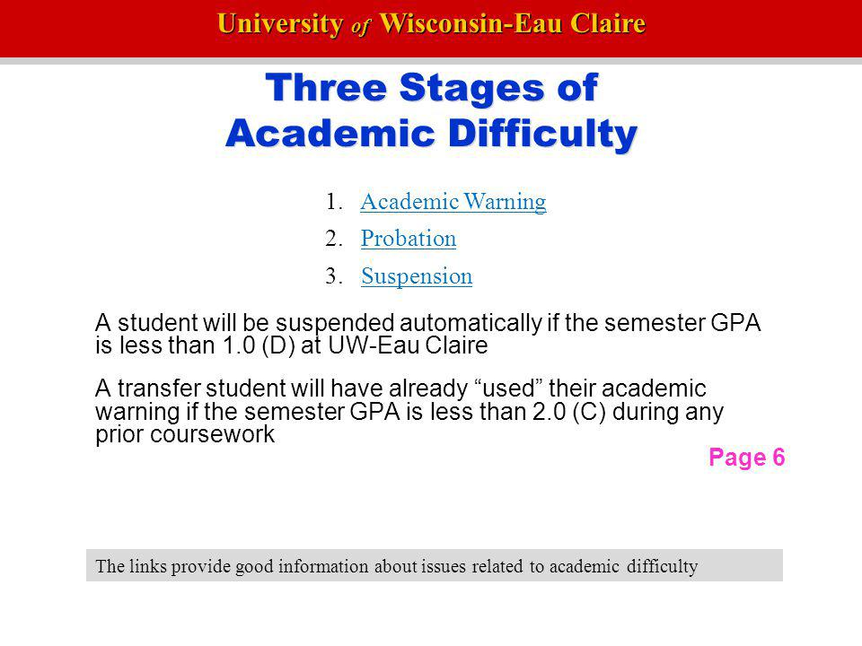 Three Stages of Academic Difficulty