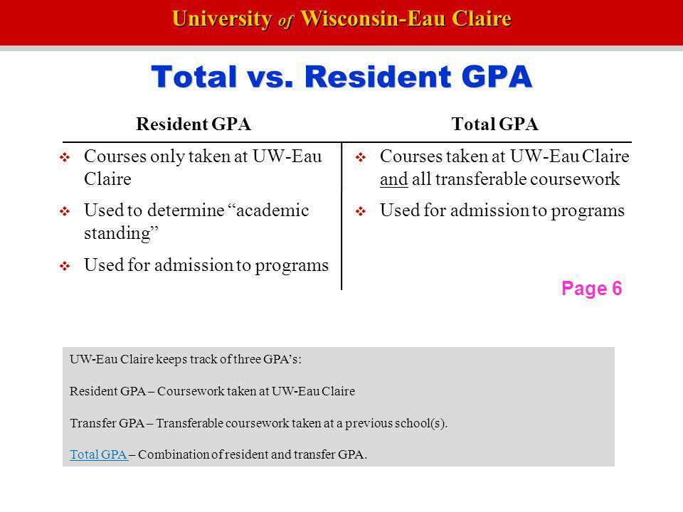 Total vs. Resident GPA Resident GPA