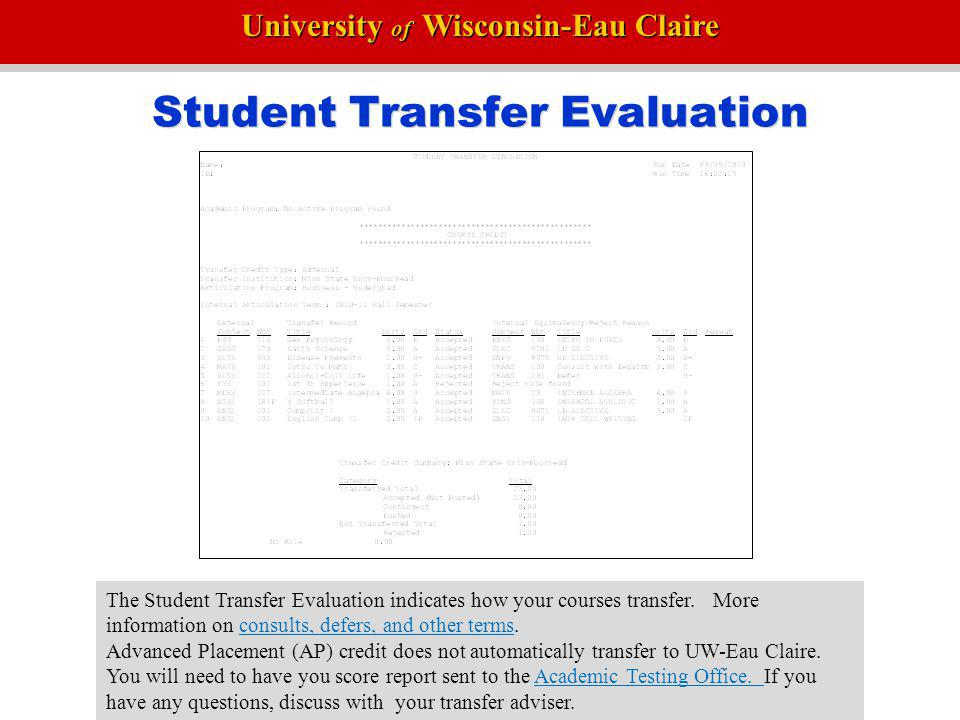 Student Transfer Evaluation