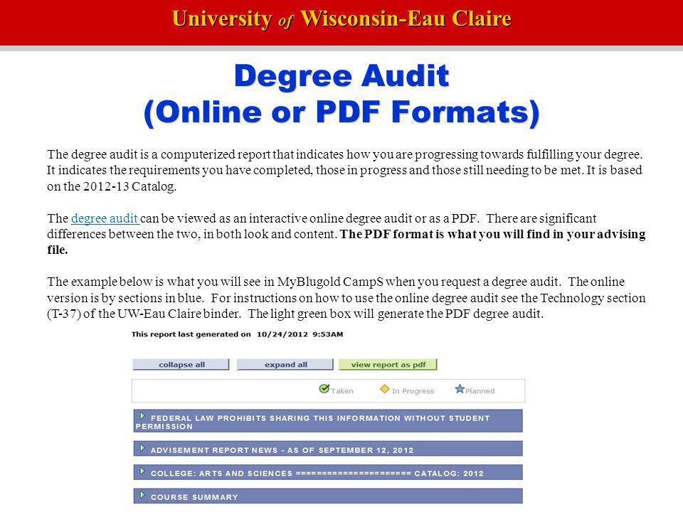 Degree Audit (Online or PDF Formats)