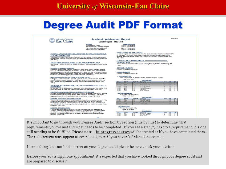 Degree Audit PDF Format