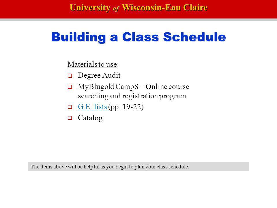 Building a Class Schedule