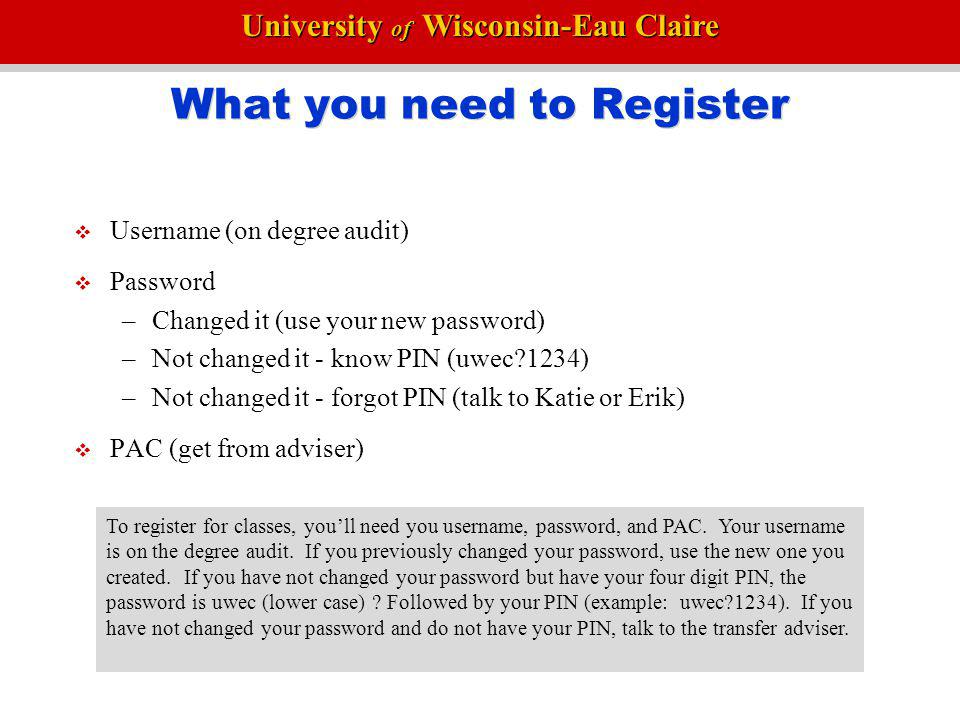 What you need to Register