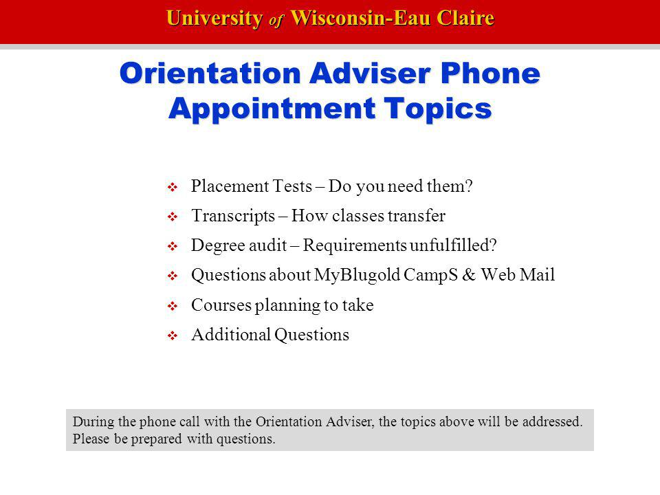 Orientation Adviser Phone Appointment Topics