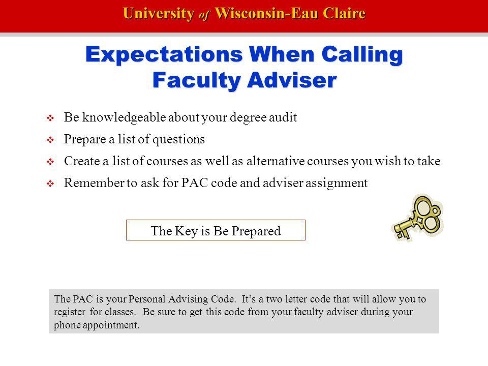 Expectations When Calling Faculty Adviser