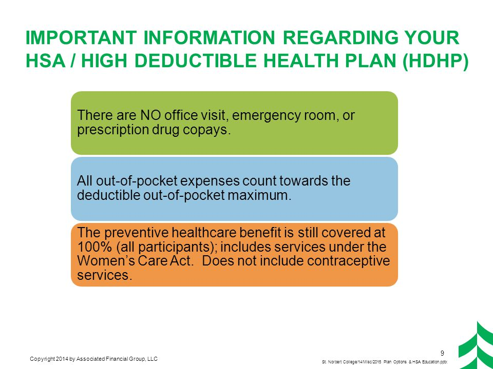 Important Information Regarding Your HSa / High Deductible Health Plan (HDHP)