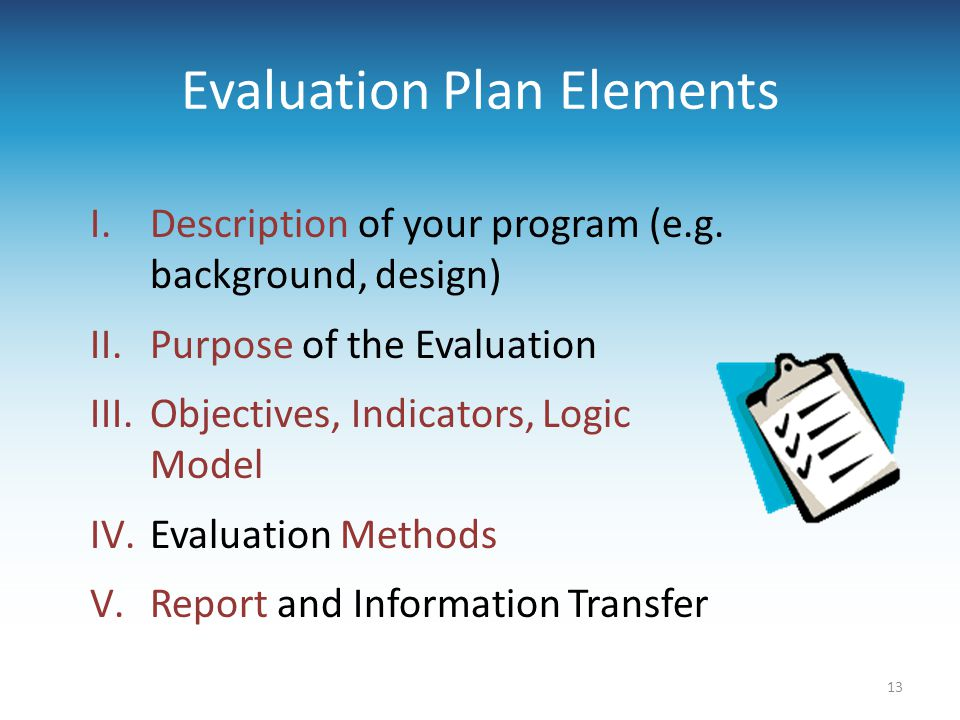 Evaluation Plan Elements