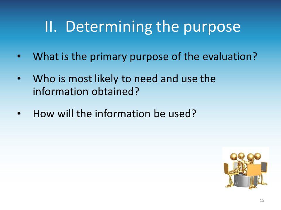 II. Determining the purpose