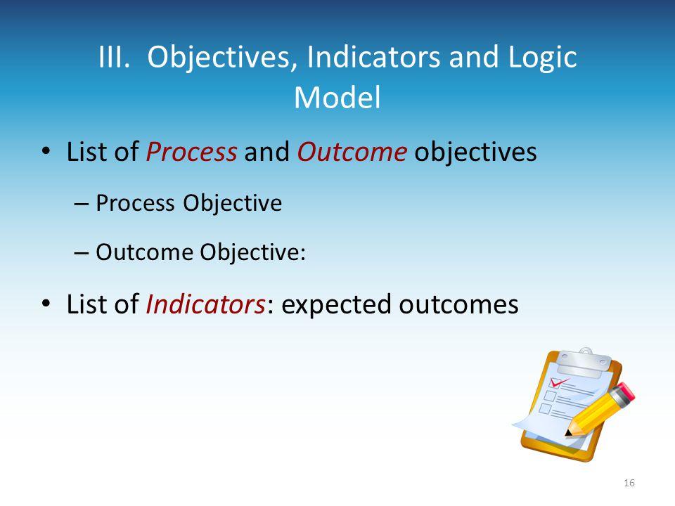 III. Objectives, Indicators and Logic Model