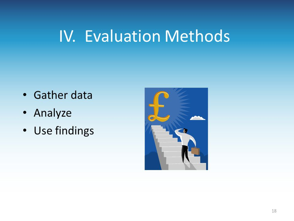 IV. Evaluation Methods Gather data Analyze Use findings