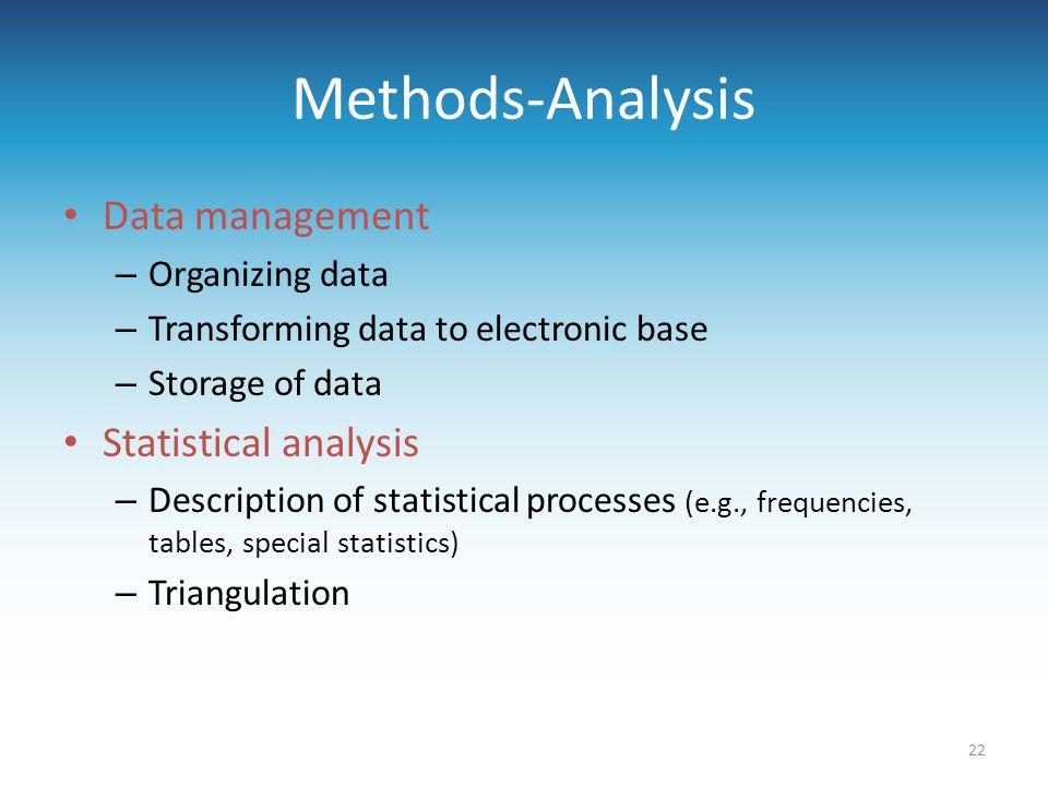 Methods-Analysis Data management Statistical analysis Organizing data