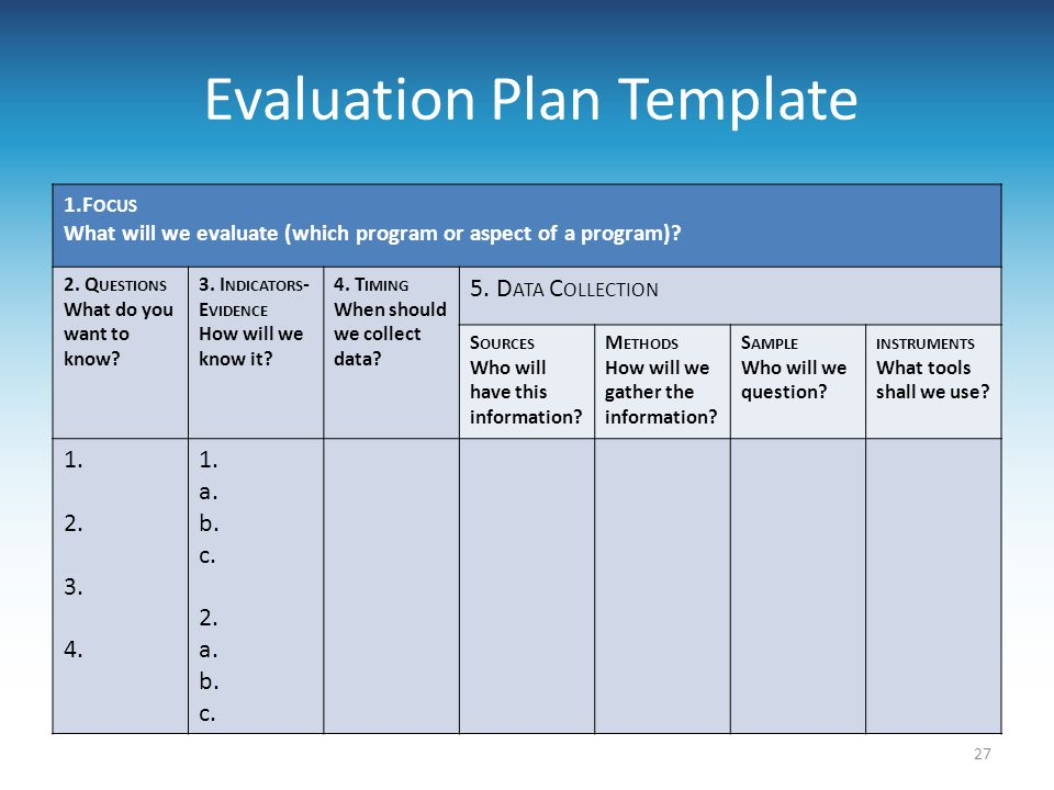 Evaluation Plan Template  Evaluation Proposal Sample