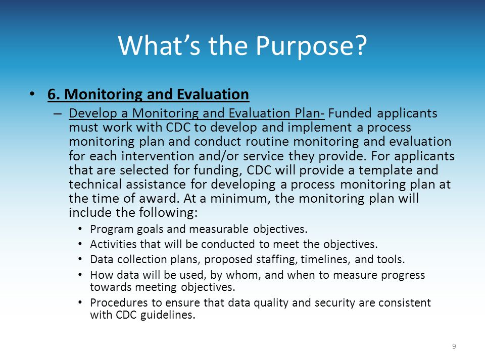 What's the Purpose 6. Monitoring and Evaluation