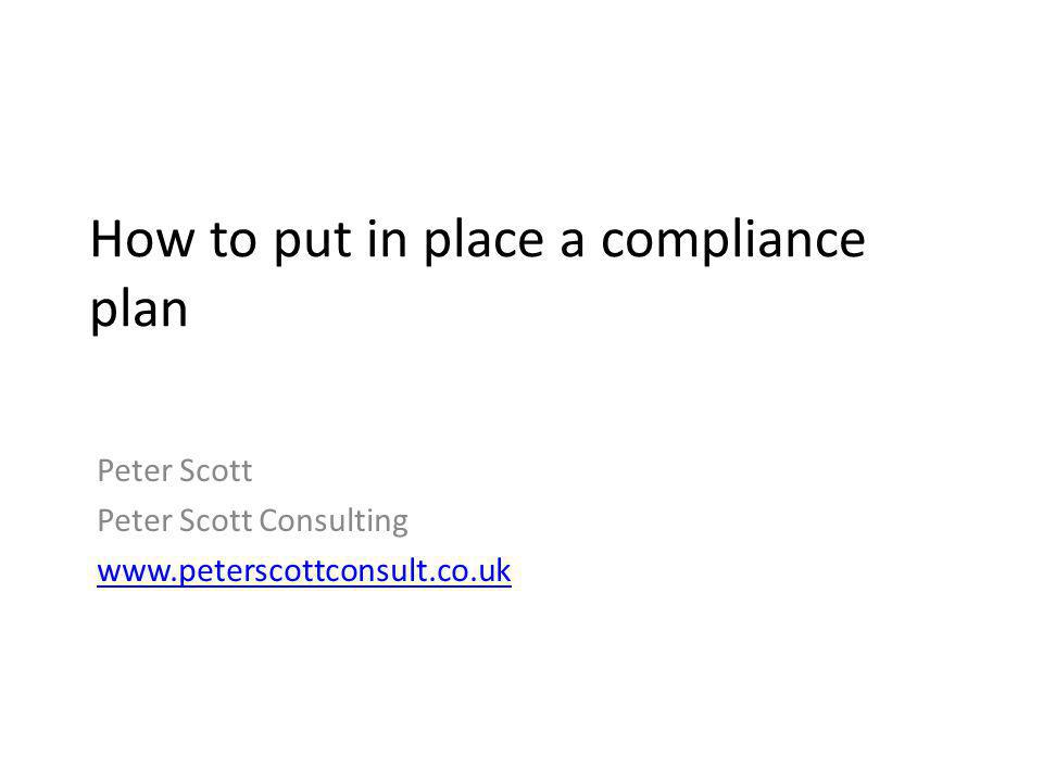 How to put in place a compliance plan