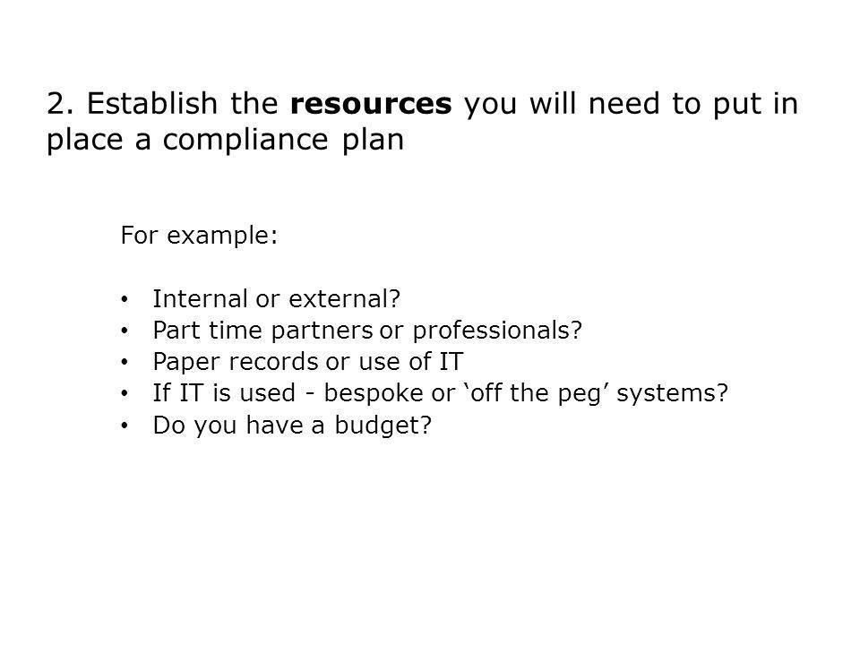 2. Establish the resources you will need to put in place a compliance plan