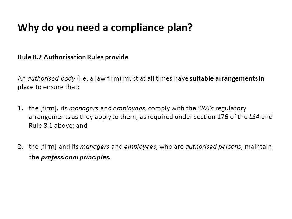 Why do you need a compliance plan