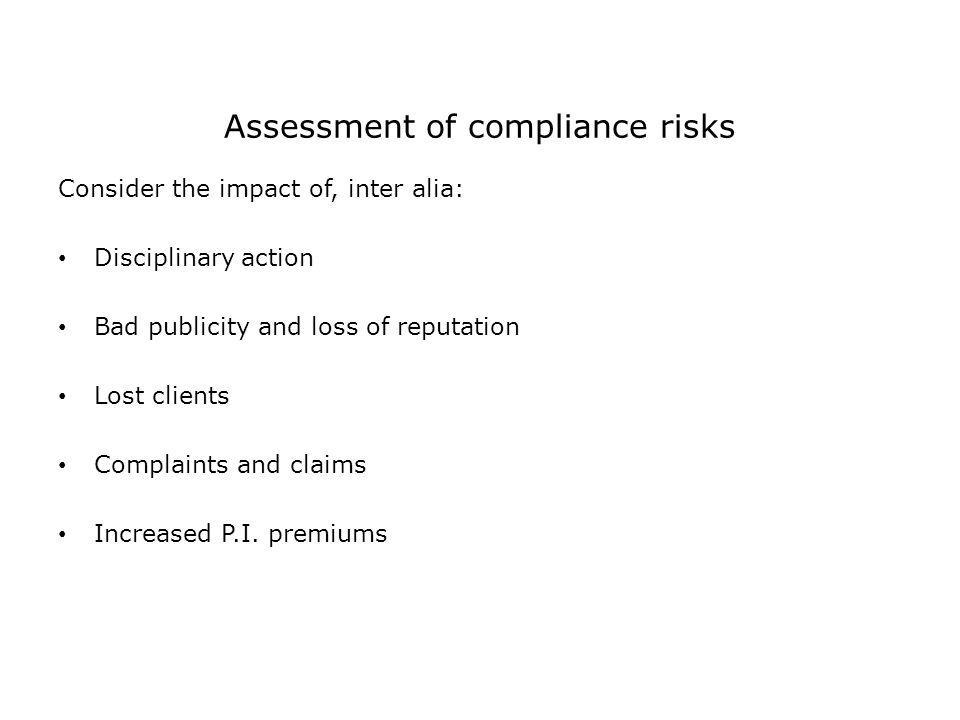 Assessment of compliance risks