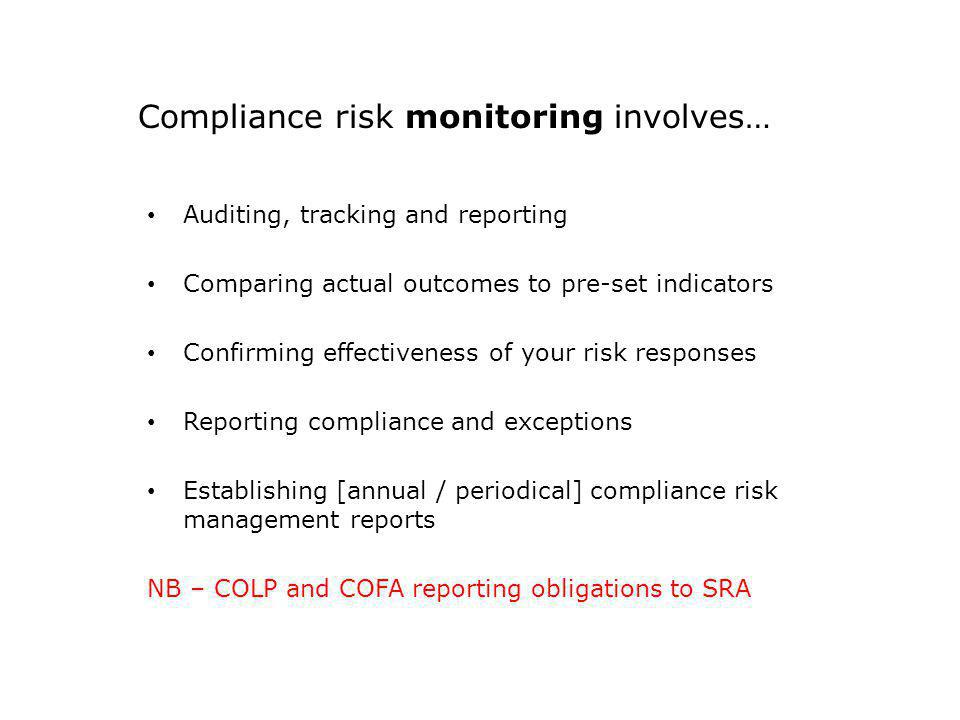 Compliance risk monitoring involves…