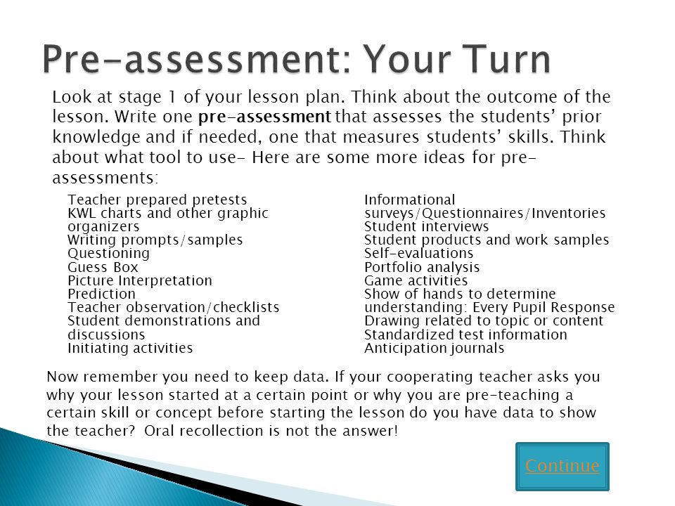 Pre-assessment: Your Turn