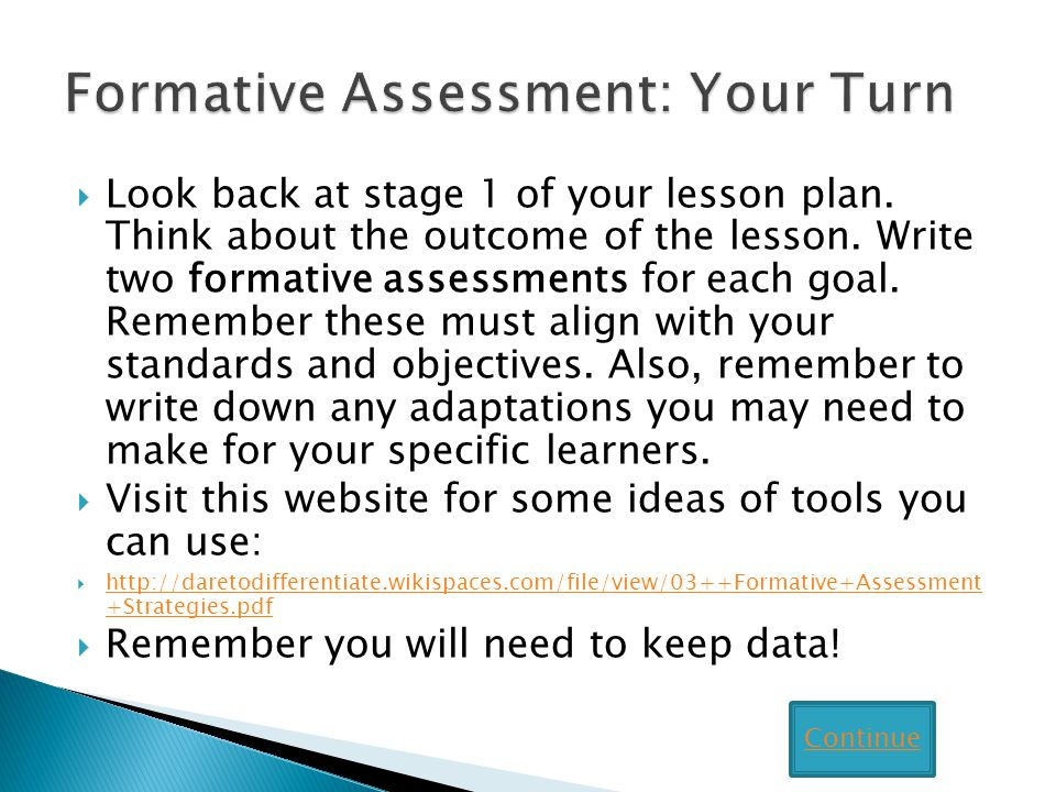 Formative Assessment: Your Turn