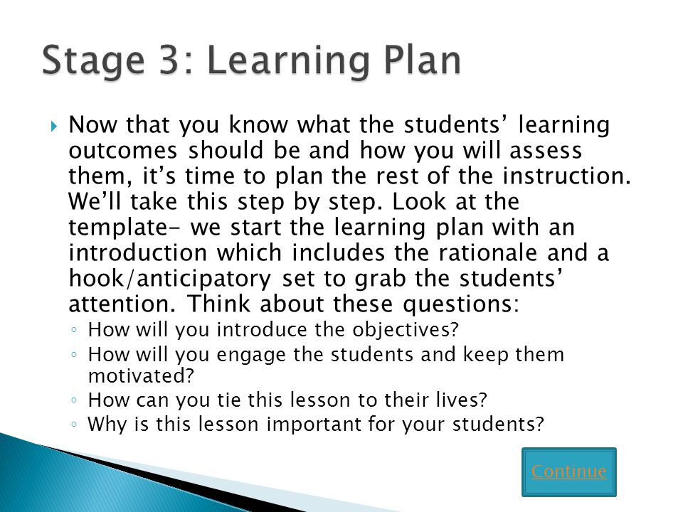 Stage 3: Learning Plan
