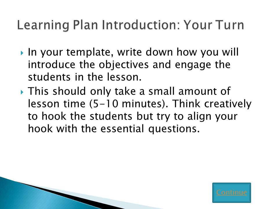 Learning Plan Introduction: Your Turn