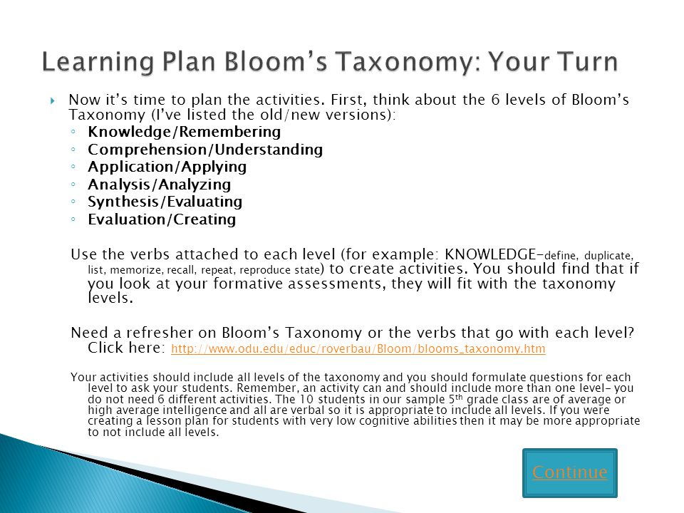 Learning Plan Bloom's Taxonomy: Your Turn